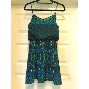 Express Blue/Green Print Sleeveless Dress